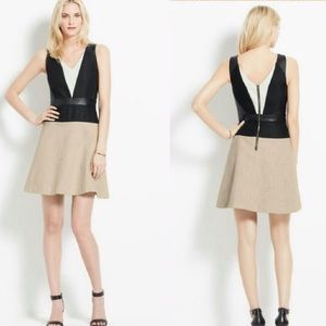 Ann Taylor faux leather colorblock flare dress